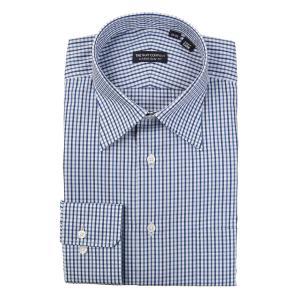 ドレスシャツ/長袖/メンズ/レギュラーカラードレスシャツ チェック 〔EC・CLASSIC SLIM-FIT〕 ネイビー×ブルー×ホワイト|uktsc