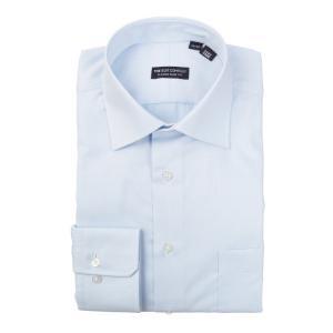 ドレスシャツ/長袖/メンズ/ワイドカラードレスシャツ 織柄 〔EC・CLASSIC SLIM-FIT〕 サックスブルー|uktsc