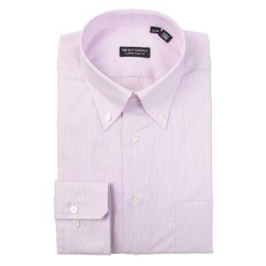 ドレスシャツ/長袖/メンズ/ボタンダウンカラードレスシャツ ヘアラインストライプ 〔EC・CLASSIC SLIM-FIT〕 ラベンダー×ホワイト|uktsc