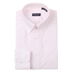 ドレスシャツ/長袖/メンズ/ボタンダウンカラードレスシャツ 織柄 〔EC・CLASSIC SLIM-FIT〕 ピンク×ホワイト uktsc