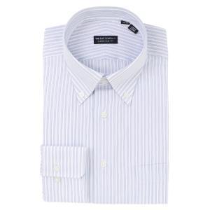ドレスシャツ/長袖/メンズ/ボタンダウンカラードレスシャツ ストライプ 〔EC・CLASSIC SLIM-FIT〕 ホワイト×ブルー×ネイビー uktsc