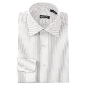 ドレスシャツ/長袖/メンズ/ワイドカラードレスシャツ ストライプ 〔EC・CLASSIC SLIM-FIT〕 ホワイト×ミディアムグレー|uktsc