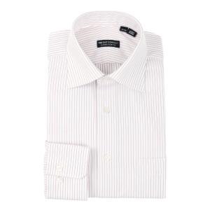 ドレスシャツ/長袖/メンズ/ワイドカラードレスシャツ ピンストライプ 〔EC・CLASSIC SLIM-FIT〕 ホワイト×ボルドー|uktsc
