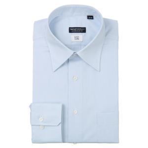 ドレスシャツ/長袖/メンズ/レギュラーカラードレスシャツ 織柄 〔EC・CLASSIC SLIM-FIT〕 サックスブルー×ホワイト uktsc
