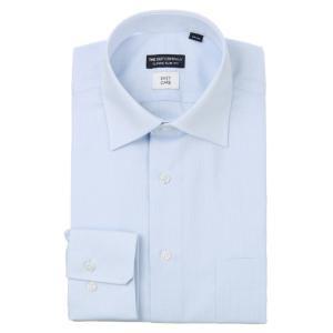 ドレスシャツ/長袖/メンズ/ワイドカラードレスシャツ 織柄 〔EC・CLASSIC SLIM-FIT〕 サックスブルー×ホワイト|uktsc