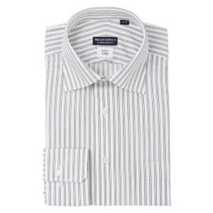 ドレスシャツ/長袖/メンズ/ワイドカラードレスシャツ ストライプ 〔EC・CLASSIC SLIM-FIT〕 ホワイト×ブラウン|uktsc