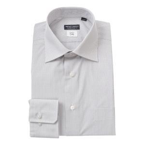 ドレスシャツ/長袖/メンズ/ワイドカラードレスシャツ ギンガムチェック 〔EC・CLASSIC SLIM-FIT〕 ライトグレー×ホワイト|uktsc