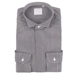 ドレスシャツ/長袖/メンズ/N.G.A.C・CERIMONIA/ウイングカラードレスシャツ ギンガムチェック ブラック×ホワイト|uktsc