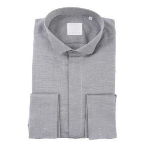 ドレスシャツ/長袖/メンズ/N.G.A.C・CERIMONIA/ダブルカフス&ウイングカラードレスシャツ 織柄 ブラック×ホワイト|uktsc