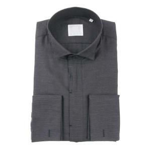 ドレスシャツ/長袖/メンズ/N.G.A.C・CERIMONIA/ダブルカフス&ウイングカラードレスシャツ ドビー織柄 ダークネイビー×ホワイト|uktsc