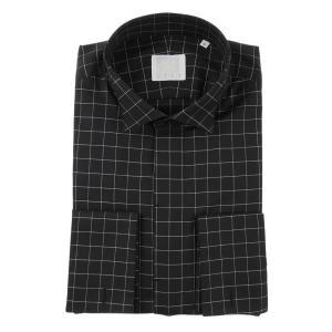 ドレスシャツ/長袖/メンズ/N.G.A.C・CERIMONIA/ダブルカフス&ウイングカラードレスシャツ チェック ブラック×ホワイト|uktsc