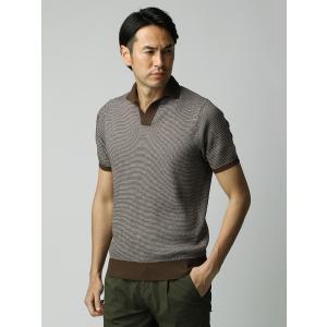 ニット/メンズ/ETONNE/コットンブレンド スキッパーニットポロシャツ ブラウン×ホワイト|uktsc