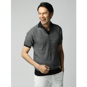 ニット/メンズ/ETONNE/コットンブレンド スキッパーニットポロシャツ ネイビー×ホワイト|uktsc