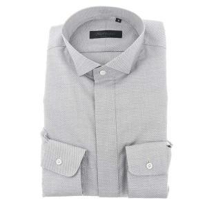 ドレスシャツ/長袖/メンズ/NERO/ウイングカラードレスシャツ 織柄 ホワイト×ブラック|uktsc