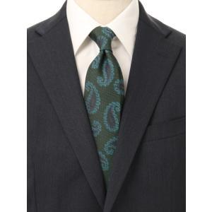 ネクタイ/レギュラータイ/メンズ/blazer's bank.com/JAPAN MADE/ペイズリー×織柄ネクタイ グリーン系|uktsc