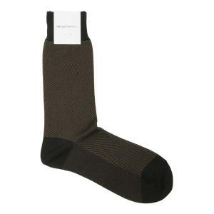 ソックス/靴下/ビジネス/メンズ/フリーサイズ/バイアスストライプ柄ソックス ブラック×ブラウン|uktsc