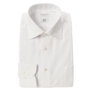 ドレスシャツ/長袖/メンズ/SUPER EASY CARE/ワイドカラードレスシャツ 織柄 〔EC・SLIM FIT〕 ホワイト|uktsc