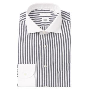 ドレスシャツ/長袖/メンズ/バンブー素材/クレリック&ホリゾンタルカラードレスシャツ ストライプ 〔EC・SLIM FIT〕 ネイビー×ホワイト uktsc