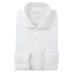 ドレスシャツ/長袖/メンズ/NON IRON/ホリゾンタルカラードレスシャツ シャドーストライプ 〔EC・SLIM FIT〕 ホワイト uktsc