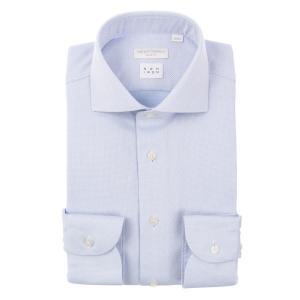 ドレスシャツ/長袖/メンズ/NON IRON/ホリゾンタルカラードレスシャツ 織柄 〔EC・SLIM FIT〕 サックスブルー×ホワイト uktsc