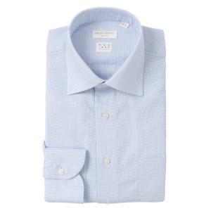 ドレスシャツ/長袖/メンズ/NON IRON STRETCH/ワイドカラードレスシャツ 織柄 〔EC・SLIM FIT〕 ホワイト×ブルー|uktsc