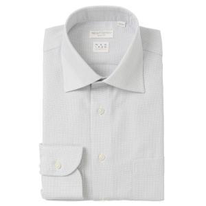 ドレスシャツ/長袖/メンズ/NON IRON STRETCH/ワイドカラードレスシャツ 織柄 〔EC・SLIM FIT〕 ホワイト×グレー|uktsc