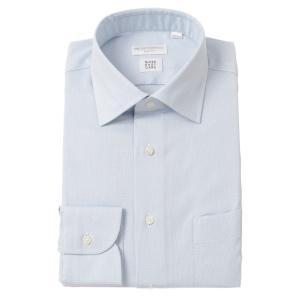 ドレスシャツ/長袖/メンズ/SUPER EASY CARE/ワイドカラードレスシャツ 織柄 〔EC・SLIM FIT〕 ブルー×ホワイト|uktsc