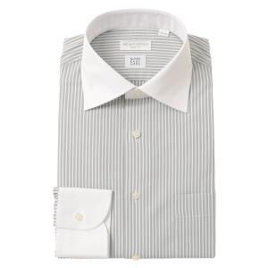 ドレスシャツ/長袖/メンズ/SUPER EASY CARE/クレリック&ワイドカラードレスシャツ 〔EC・SLIM FIT〕 グレー×ホワイト|uktsc