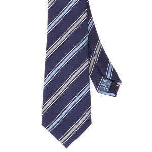ネクタイ/レギュラータイ/メンズ/ストライプ×織柄ネクタイ ネイビー系 uktsc