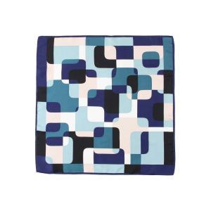 スカーフ/レディース/destyle/JAPAN QUALITY/シルクツイル ジオメトリックプリントプチスカーフ ネイビー系|uktsc