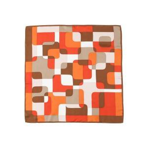 スカーフ/レディース/destyle/JAPAN QUALITY/シルクツイル ジオメトリックプリントプチスカーフ オレンジ系|uktsc
