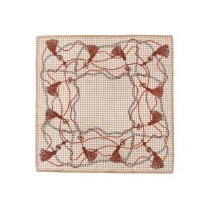 スカーフ/レディース/destyle/JAPAN QUALITY/シルクツイル 千鳥×タッセルプリントプチスカーフ ベージュ系|uktsc