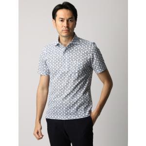 ポロシャツ/メンズ/ETONNE/コットンシルケットデオドラント ボタニカルプリントワンピースカラーポロシャツ ホワイト×ブルー|uktsc