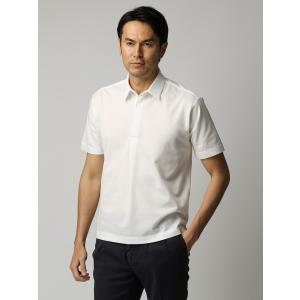 ポロシャツ/メンズ/ETONNE/ソロテックス鹿の子スナップボタン ワイドカラーポロシャツ ホワイト|uktsc