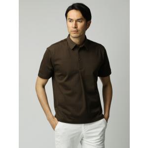 ポロシャツ/メンズ/ETONNE/ソロテックス鹿の子スナップボタン ワイドカラーポロシャツ ブラウン|uktsc