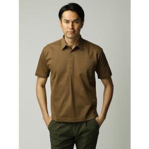 ポロシャツ/メンズ/ETONNE/ソロテックス鹿の子スナップボタン ワイドカラーポロシャツ キャメル|uktsc