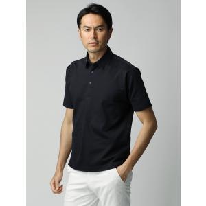 ポロシャツ/メンズ/ETONNE/ソロテックス鹿の子スナップボタン ワイドカラーポロシャツ ネイビー|uktsc