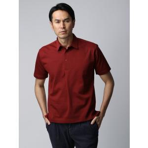 ポロシャツ/メンズ/ETONNE/ソロテックス鹿の子スナップボタン ワイドカラーポロシャツ ボルドー|uktsc