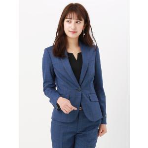 スーツ/レディース/セットアップ/通年/ウォッシャブル・EASY STRETCH/ウインドーペーン柄ジャケット ブルー×ブラック×ベージュ uktsc