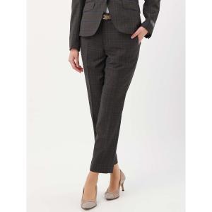 スーツ/レディース/セットアップ/通年/SUPER110'sウール チェック柄テーパードパンツ/Fabric by REDA/ ブラウン×ネイビー×ベージュ uktsc