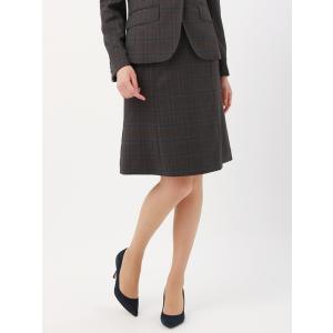 スーツ/レディース/セットアップ/通年/SUPER110'sウール チェック柄フレアスカート/Fabric by REDA/ ブラウン×ネイビー×ベージュ uktsc