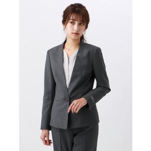 スーツ/レディース/セットアップ/通年/SUPER110'sウール マイクロチェック柄Vカラージャケット/Fabric by REDA|uktsc