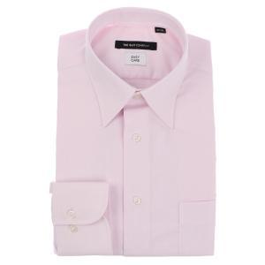 ドレスシャツ/長袖/メンズ/レギュラーカラードレスシャツ ピンドット 〔EC・BASIC〕 ピンク uktsc