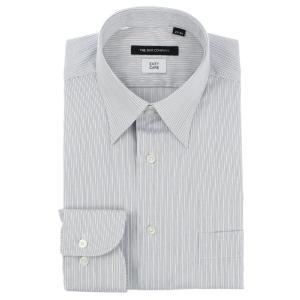 ドレスシャツ/長袖/メンズ/レギュラーカラードレスシャツ ストライプ 〔EC・BASIC〕 ホワイト×ネイビー uktsc