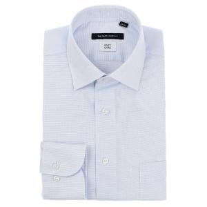 ドレスシャツ/長袖/メンズ/ワイドカラードレスシャツ 織柄 〔EC・BASIC〕 ブルー×ホワイト|uktsc