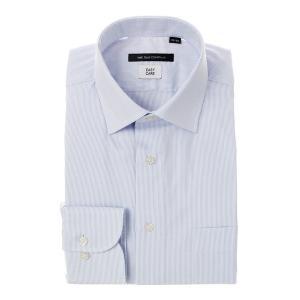 ドレスシャツ/長袖/メンズ/ワイドカラードレスシャツ ストライプ 〔EC・BASIC〕 ブルー×ホワイト|uktsc