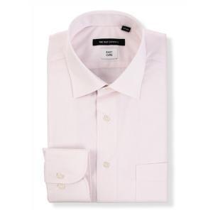 ドレスシャツ/長袖/メンズ/ワイドカラードレスシャツ 無地 〔EC・BASIC〕 ピンク|uktsc