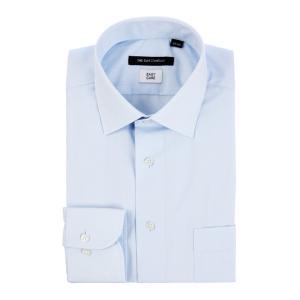 ドレスシャツ/長袖/メンズ/ワイドカラードレスシャツ  無地〔EC・BASIC〕 サックスブルー|uktsc