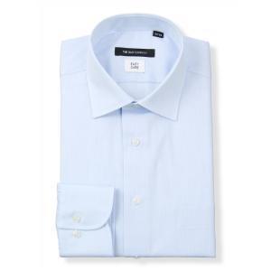 ドレスシャツ/長袖/メンズ/ワイドカラードレスシャツ シャドーストライプ〔EC・BASIC〕 サックスブルー|uktsc