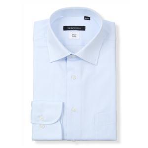 ドレスシャツ/長袖/メンズ/ワイドカラードレスシャツ ヘリンボーン〔EC・BASIC〕 サックスブルー|uktsc